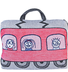 Train cushion/bag Passangers Red Blue