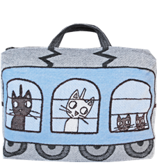 Train cushion/bag Dog Cat Blue