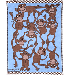 Baby Blanket Monkey Blue